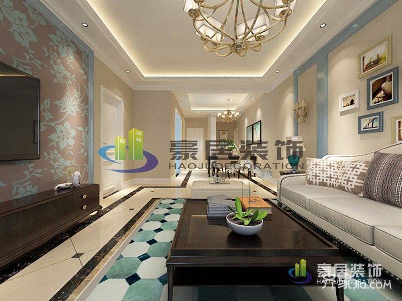118平米美式三居装修客厅吊顶效果图