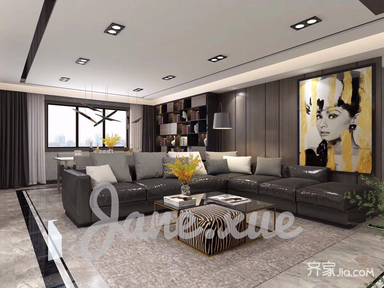 180平现代简约风格客厅装修效果图