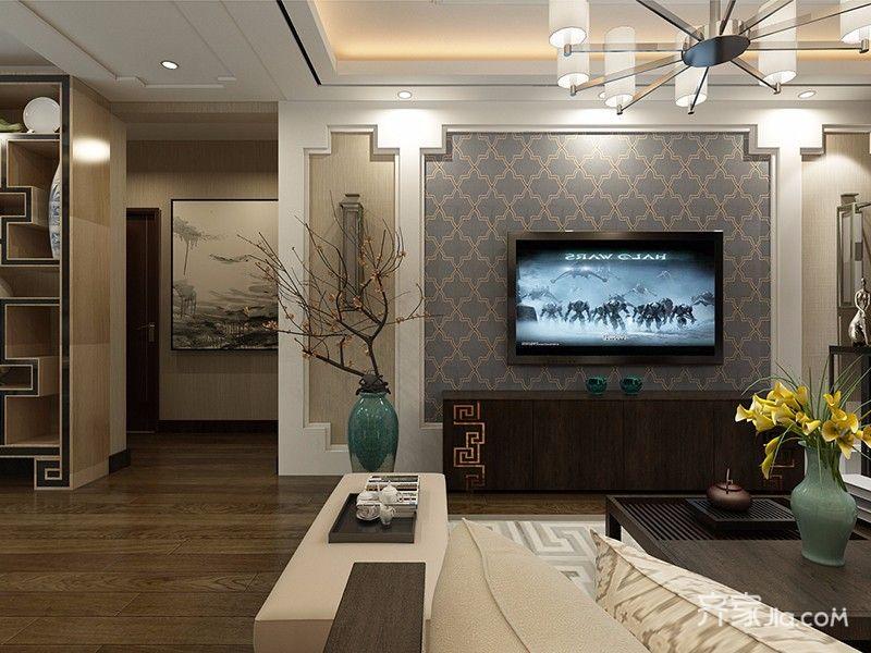 新中式风格三居装修电视背景墙设计图