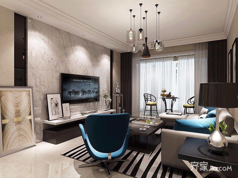 125平现代简约风格装修电视背景墙效果图
