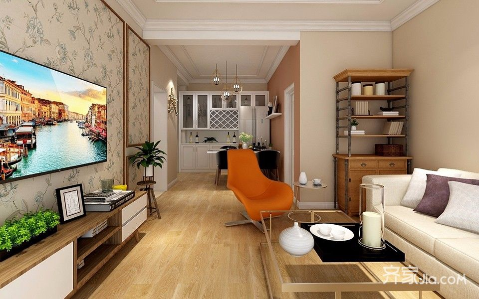 一居室简约风格装修电视背景墙设计效果图