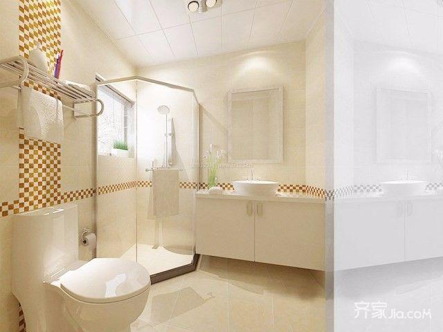 现代简约时尚三居卫生间装修效果图