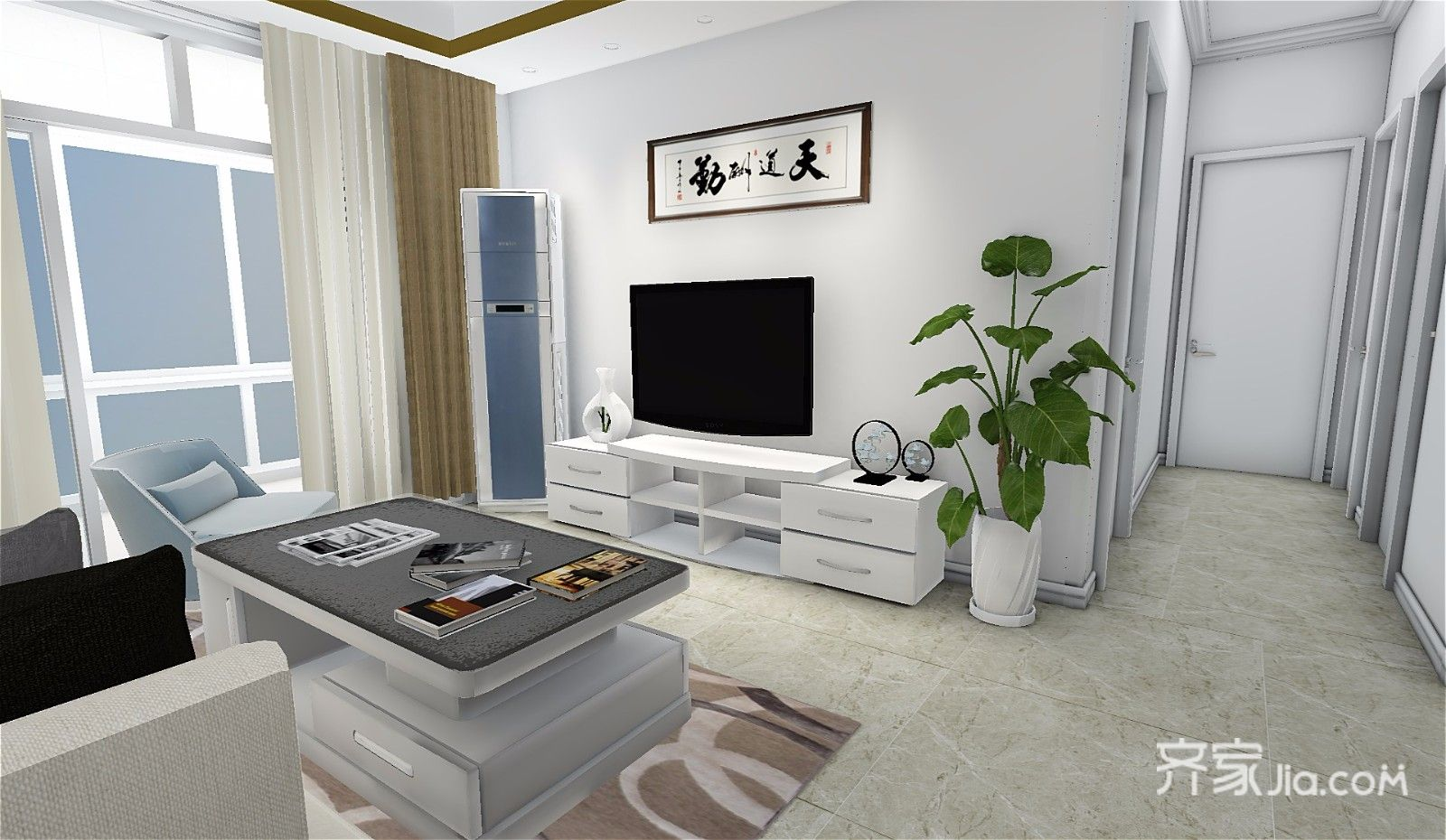 73平简约三居室装修电视墙设计效果图