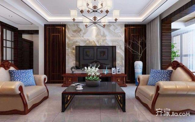 新中式二居室客厅效果图