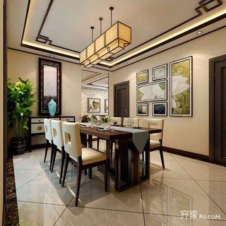 三居室新中式装修餐厅效果图