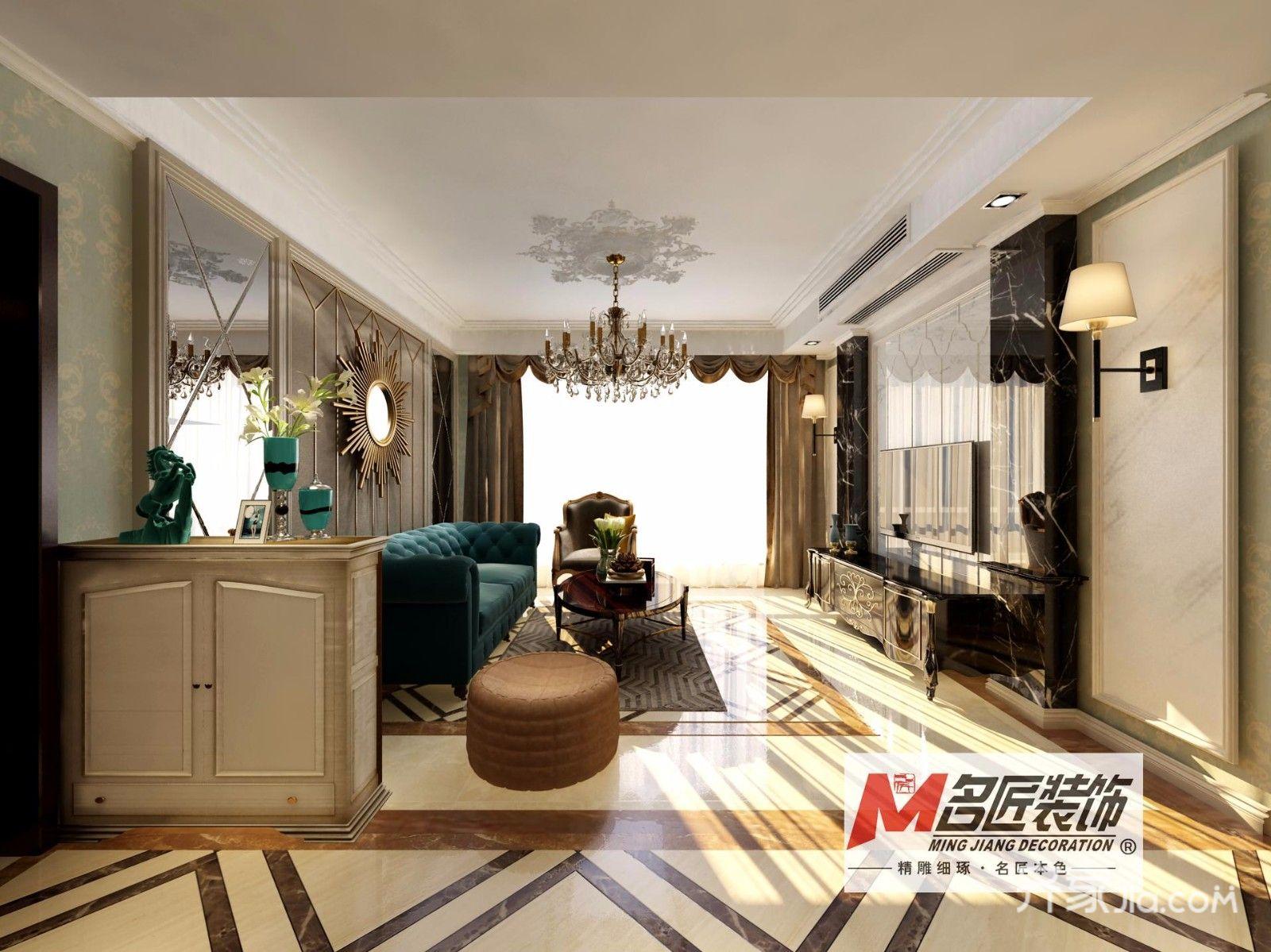 欧式三居室装修客厅效果图