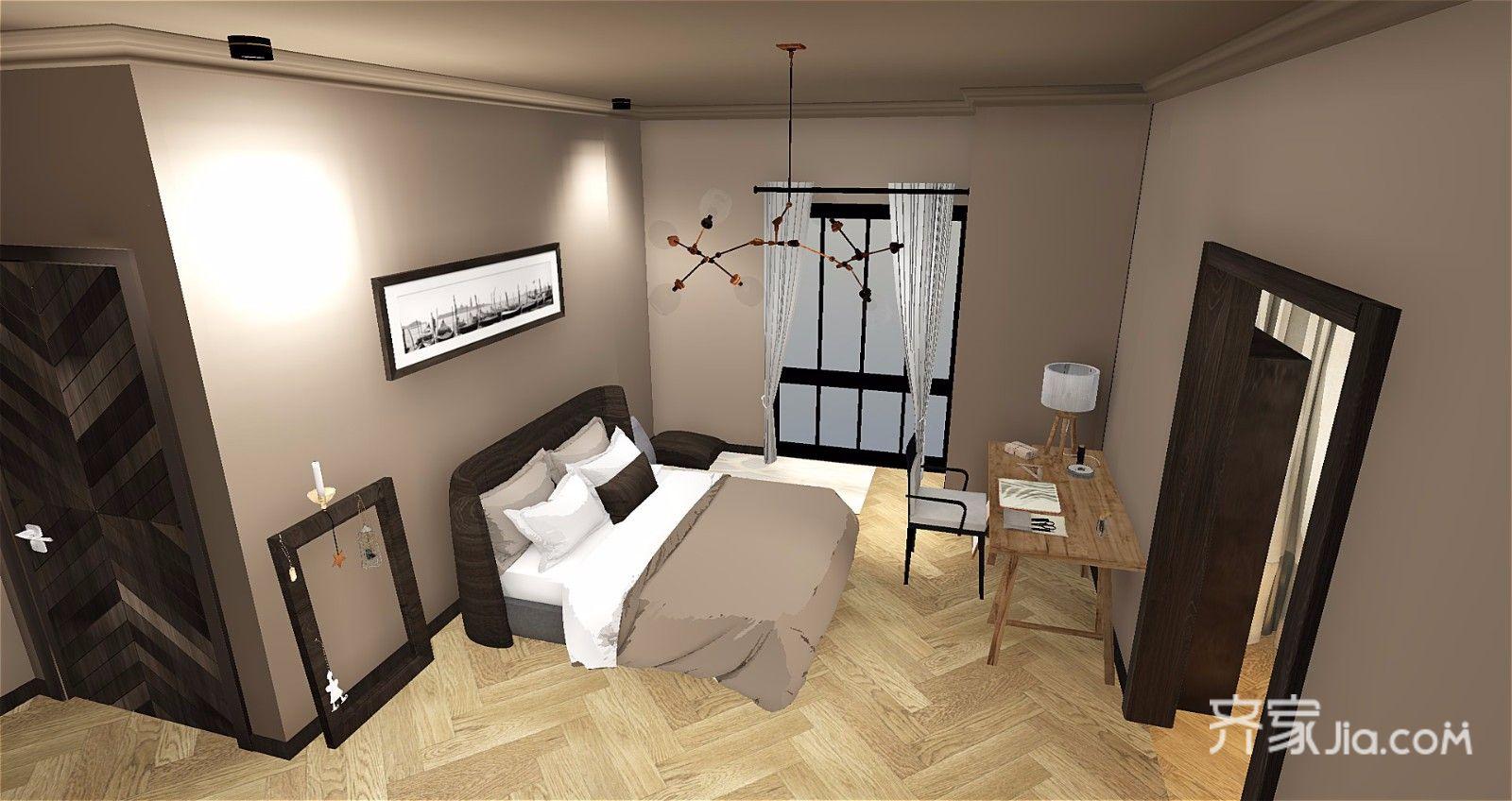 65平简约风格公寓卧室装修效果图