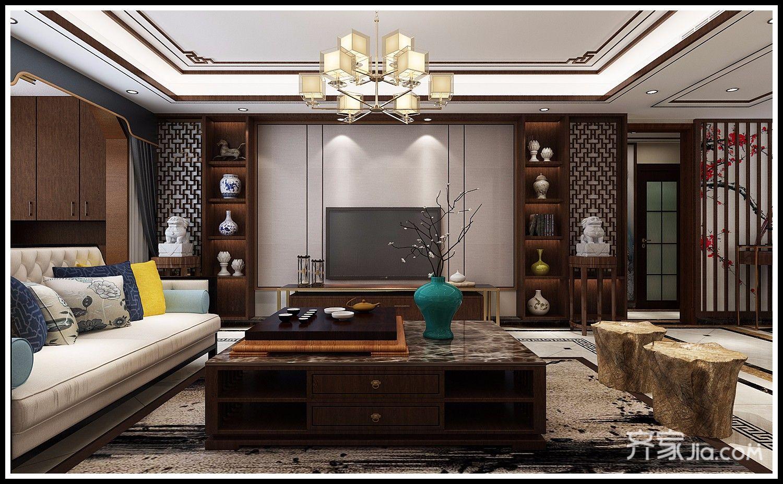 三居室中式装修客厅效果图