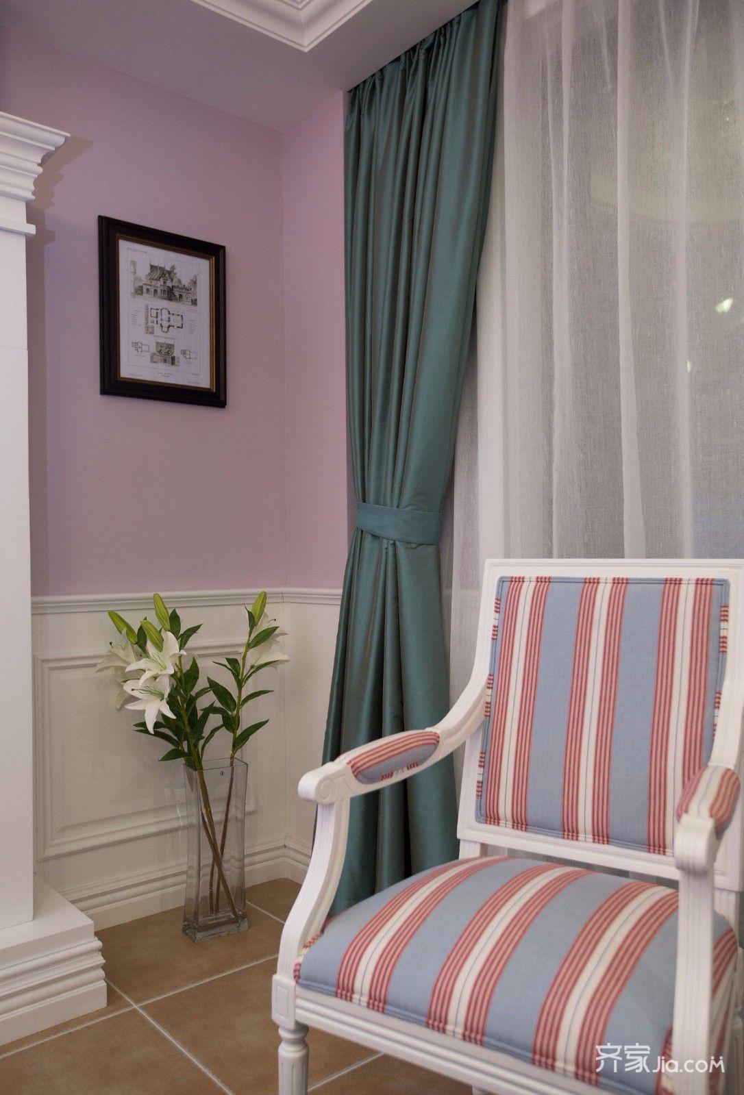 二居室温馨美式装修窗帘图片