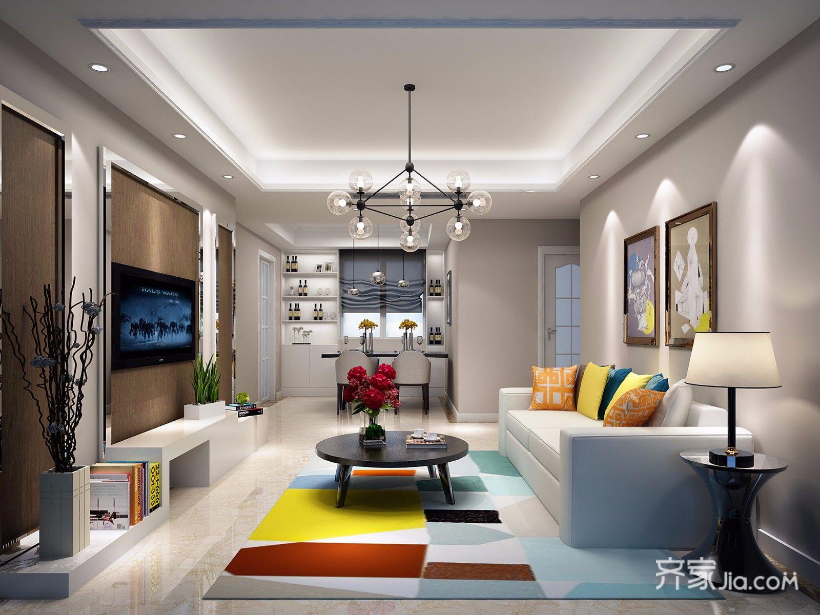 三居室现代简约风格装修客厅效果图