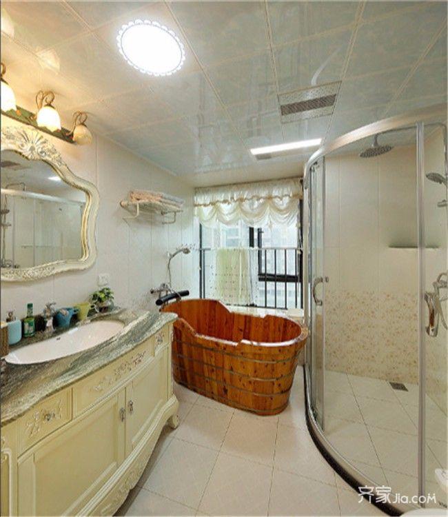 三居室简欧风设计卧室卫生间