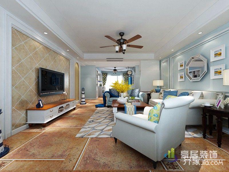 130平地中海风格装修客厅效果图