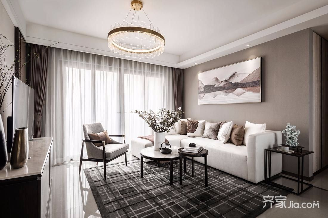 160平古典之家客厅全景图
