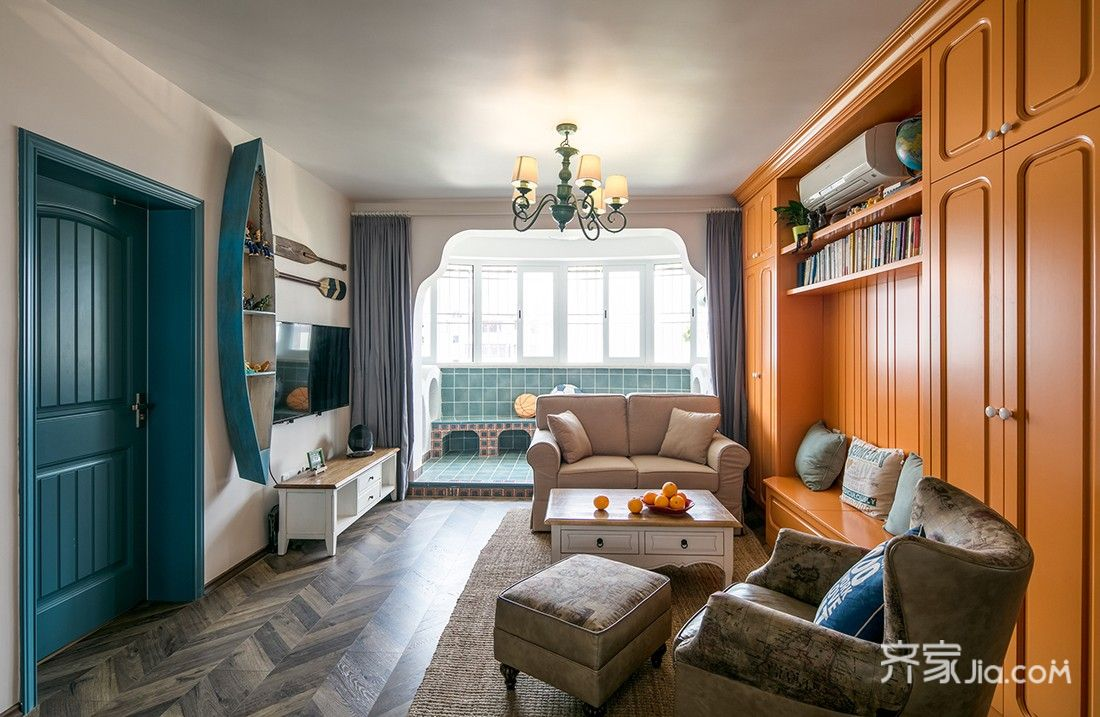 美式风情三居室装修客厅效果图