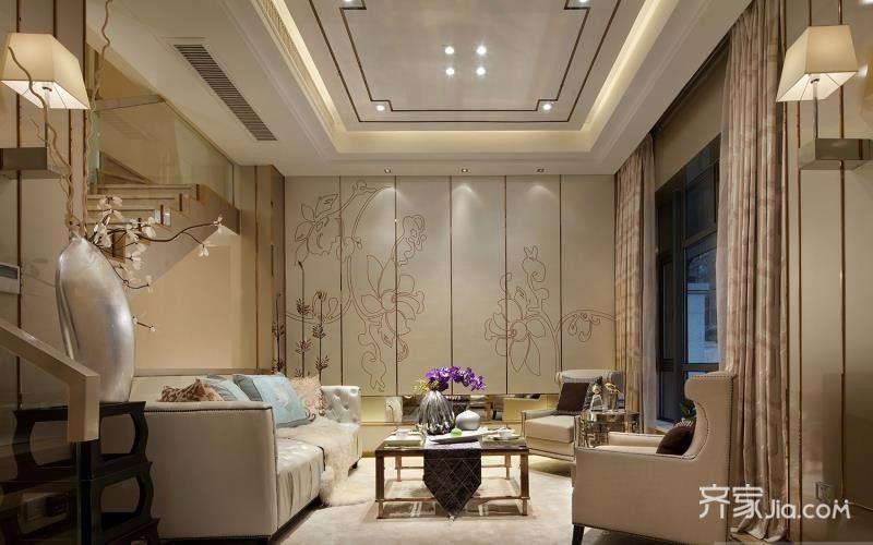 140㎡中式简约家客厅效果图
