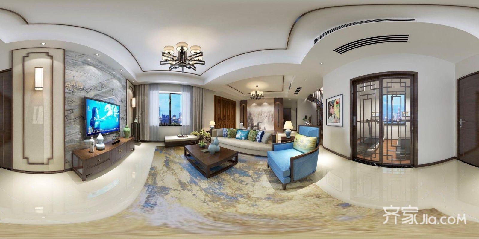 350㎡中式别墅装修一楼客厅全景图