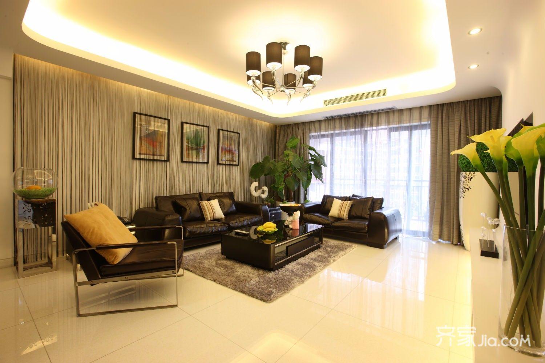 155平简约风格装修卧室客厅效果图