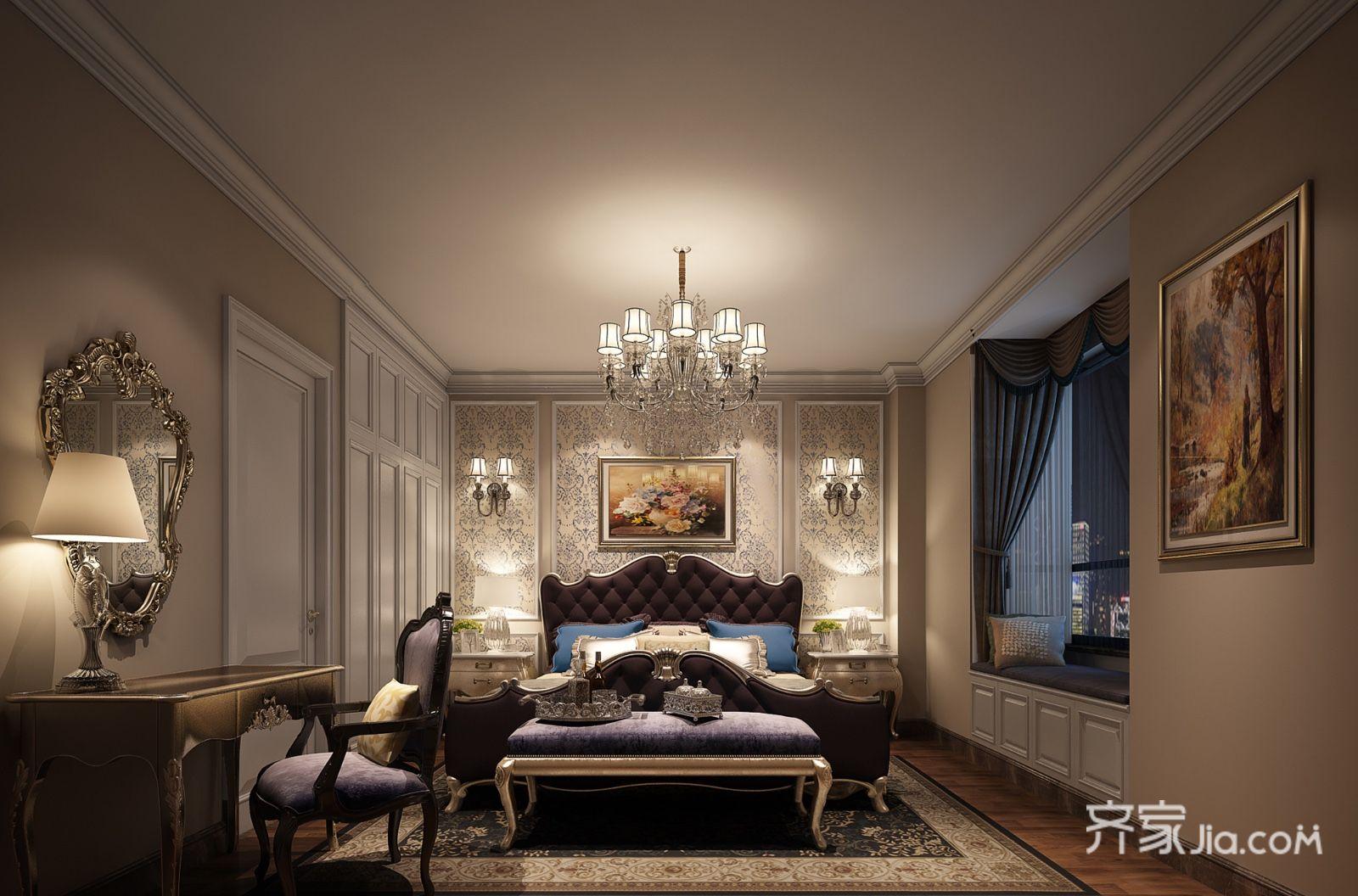 华丽大气的欧式风格装修卧室设计图