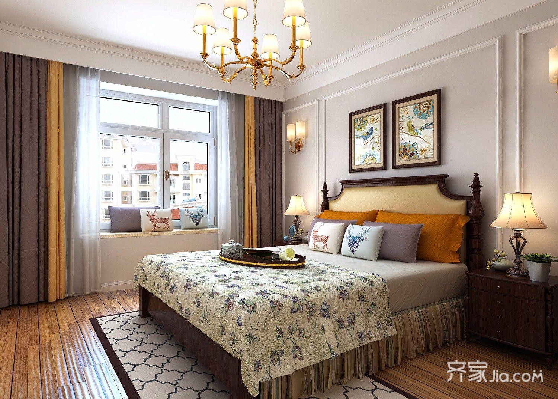 干净利落的美式风格装修卧室装潢图