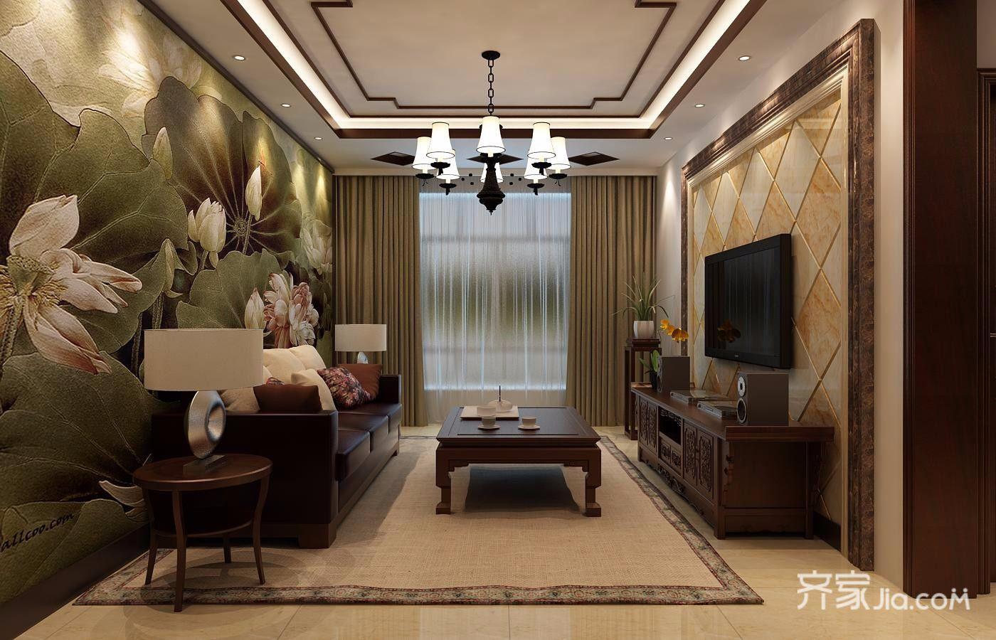80平米二居室装修沙发背景墙图片