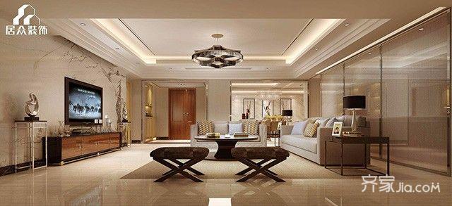 大户型简约风格装修客厅装潢图
