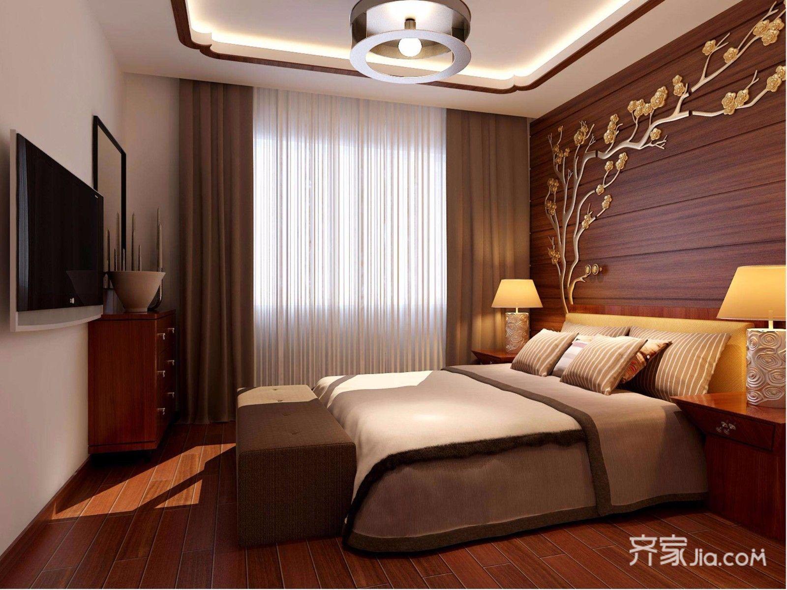 90平的中式装修卧室设计图