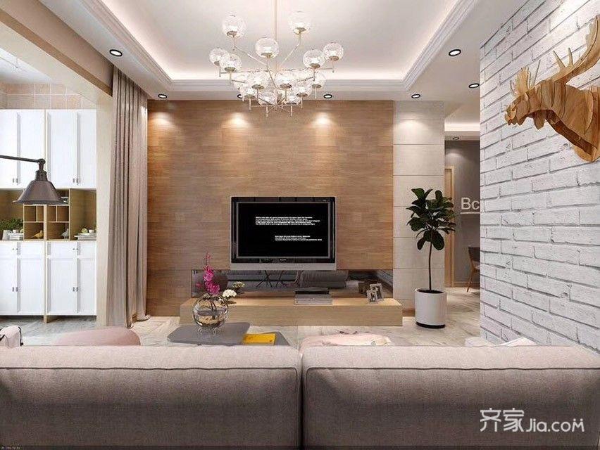 简约的二居室装修电视背景墙图片