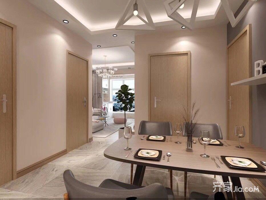 简约的二居室装修餐厅实景图