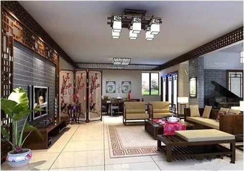 中式客廳裝飾效果圖帶空調銅管規格古典,感受美麗的客廳空間