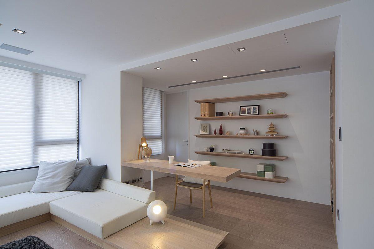简约原木风两居室装修书桌设计图