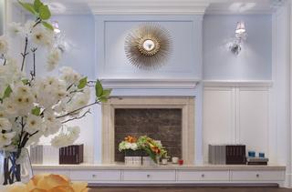 蓝色调美式风格壁炉墙装修效果图