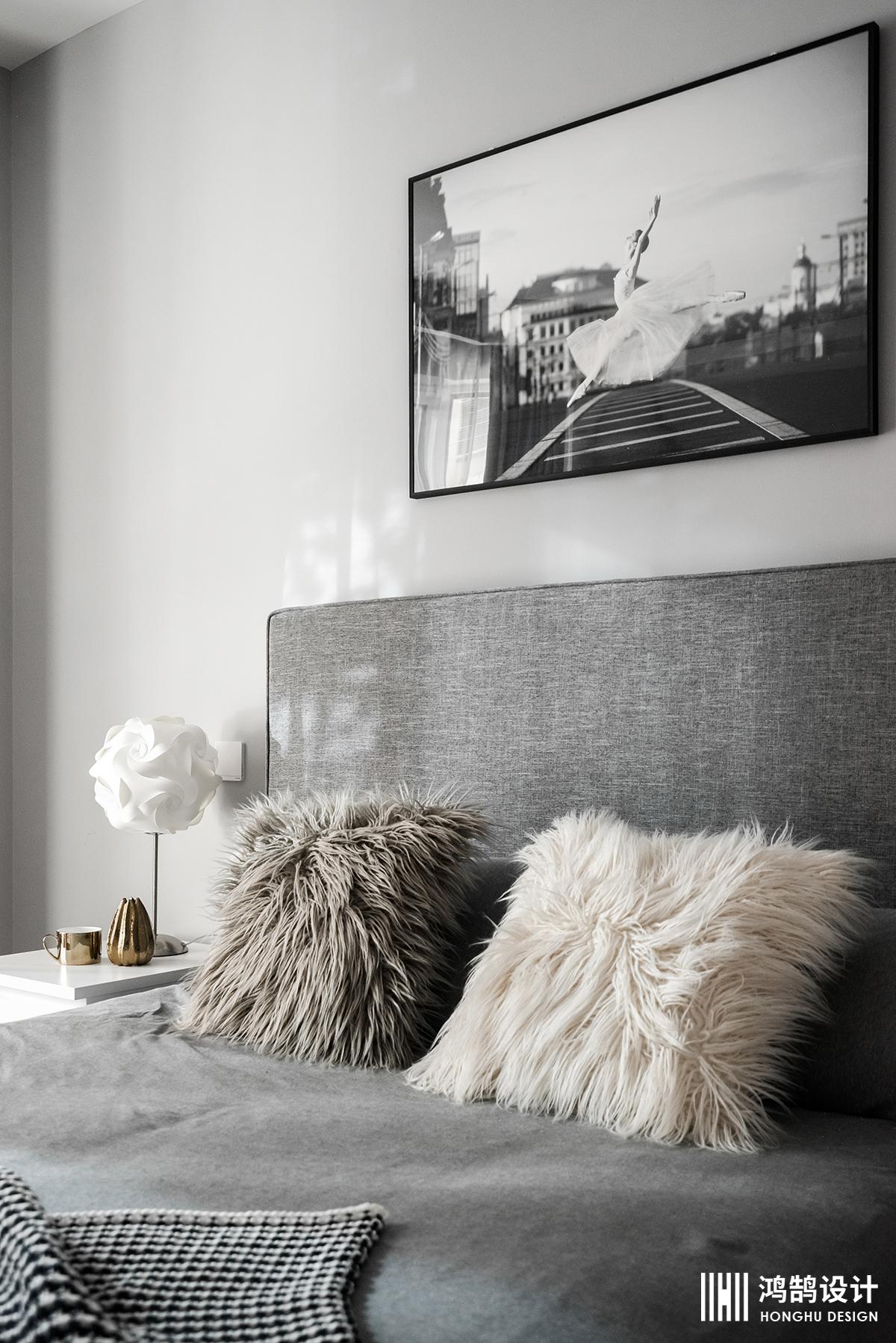 北欧风格两居装修卧室背景墙图片