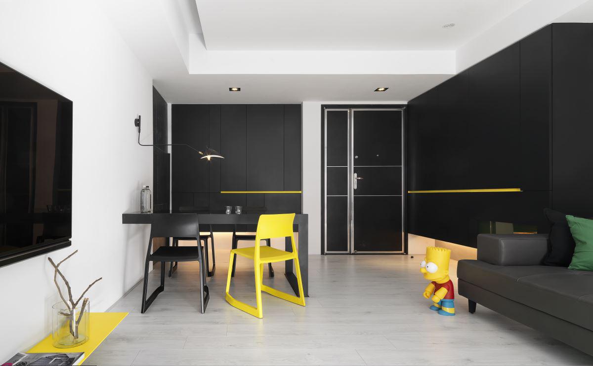 黑白极简现代风装修客餐厅全景图