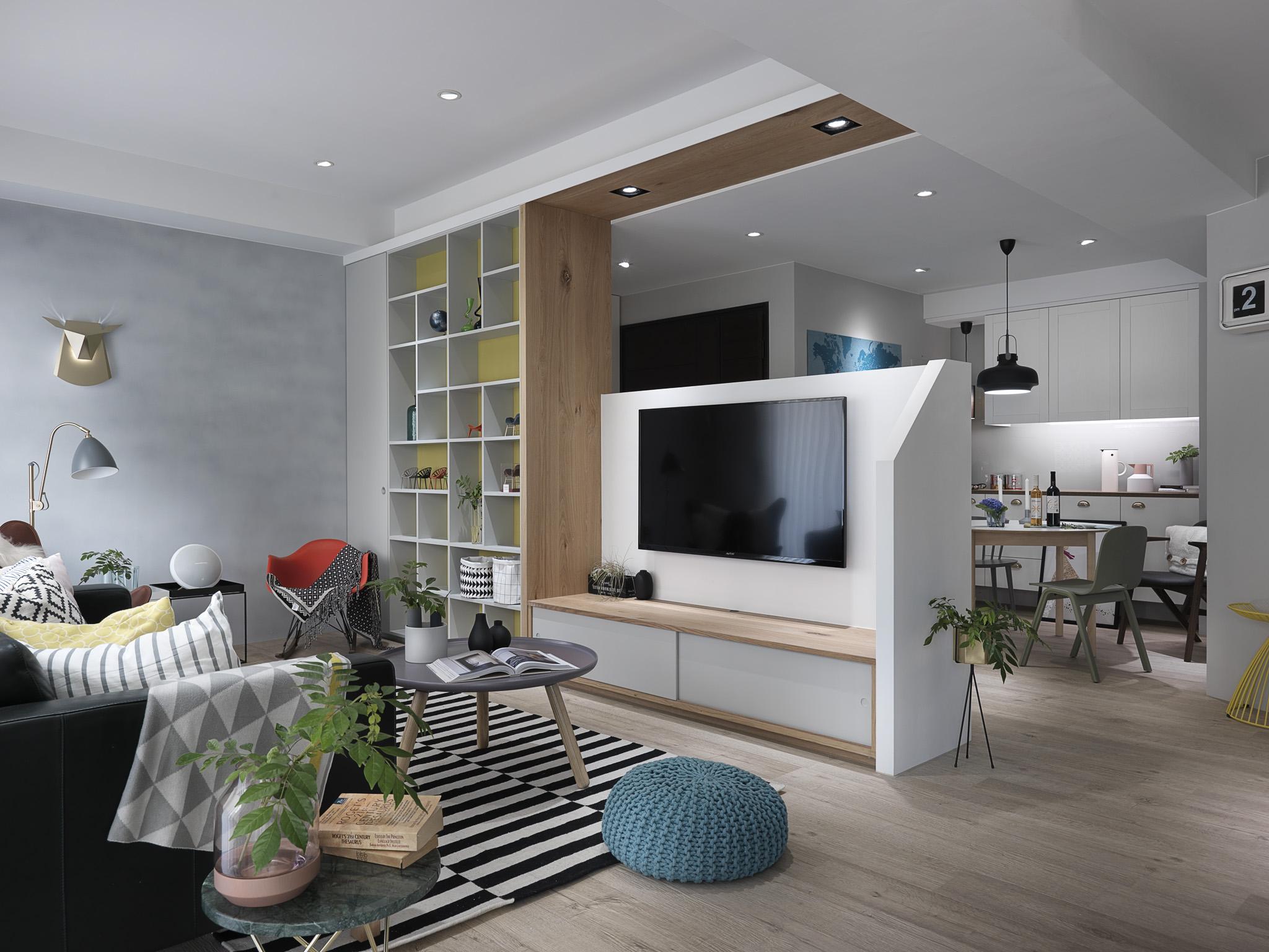 小户型个性北欧风装修电视背景墙效果图