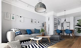 二居室北欧风格装修吊灯设计图