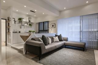 现代简约风格二居室装修沙发布置图