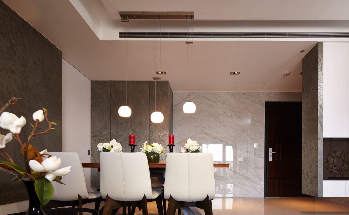 115平现代风三居装修餐厅吊灯设计图