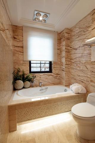 150平欧式风格三居装修浴缸设计图