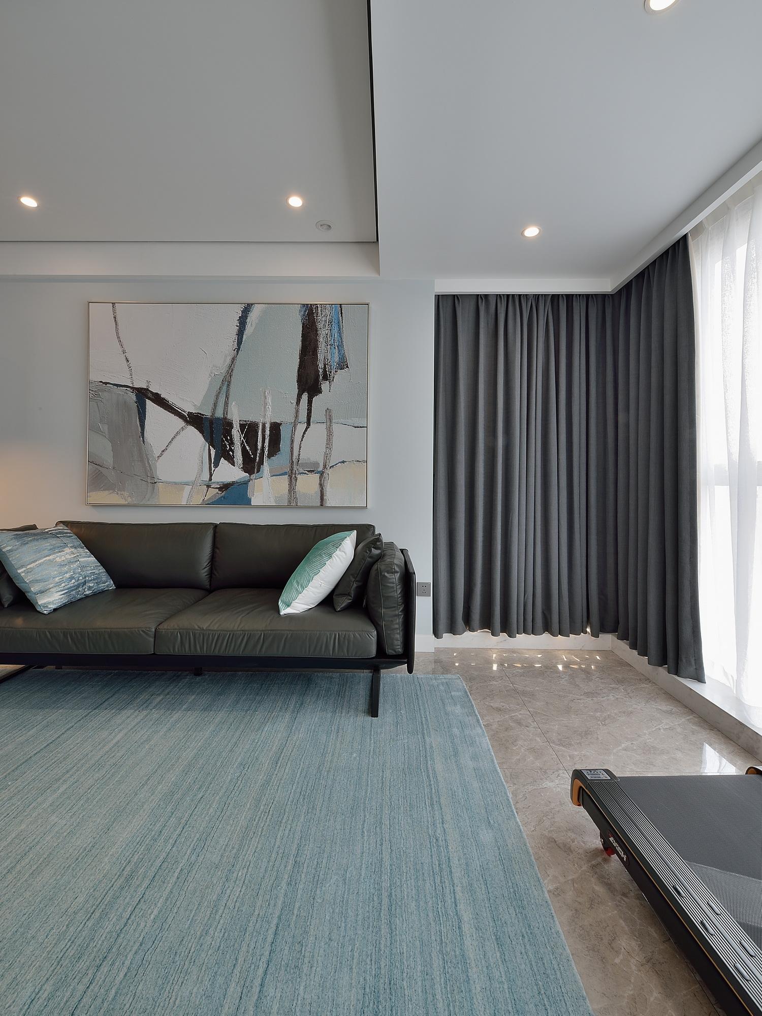 110㎡现代简约二居沙发背景墙装修效果图