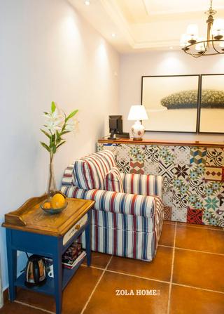 美式风格民宿装修条纹沙发设计图