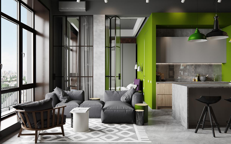 45平工业风公寓装修沙发效果图
