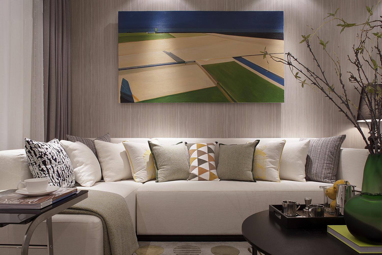 92平后现代风格三居沙发背景墙装修效果图