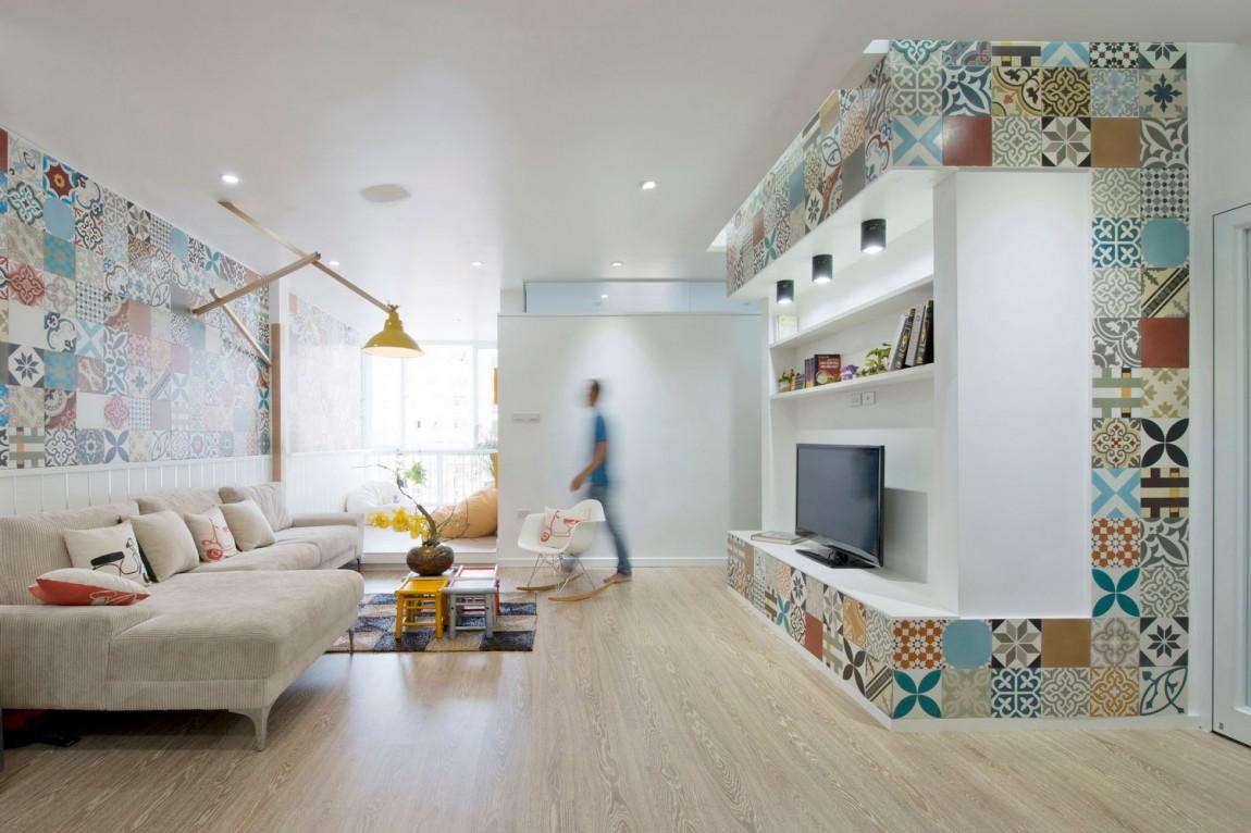 96㎡简约风格两居客厅装修效果图