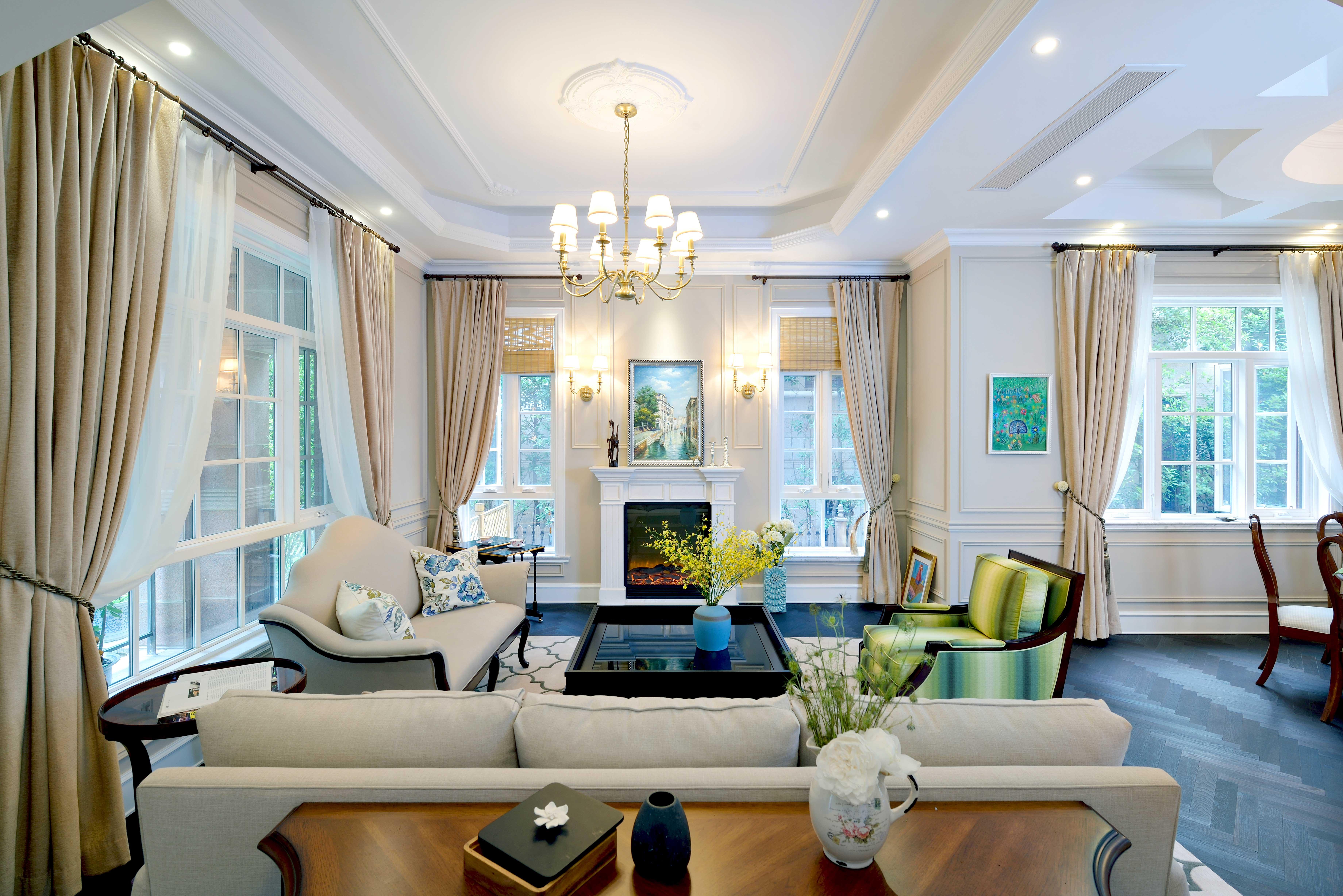 现代简美风格别墅客厅吊顶装修效果图