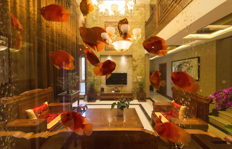 400平中式风格别墅装修鱼缸设计图