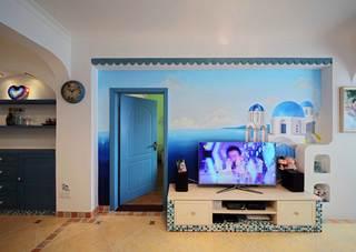 地中海风格二居室电视背景墙装修效果图