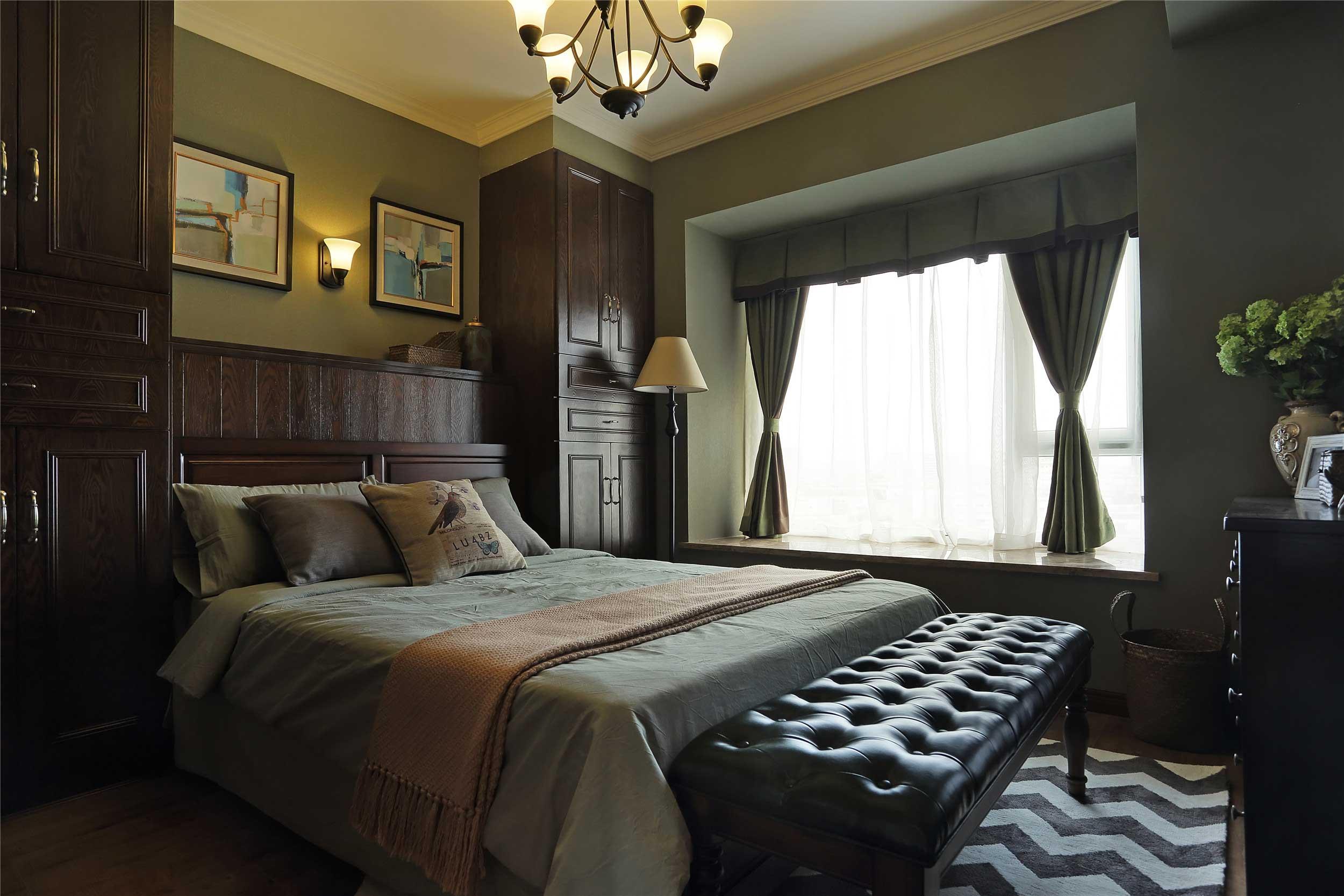 美式乡村二居卧室装修效果图