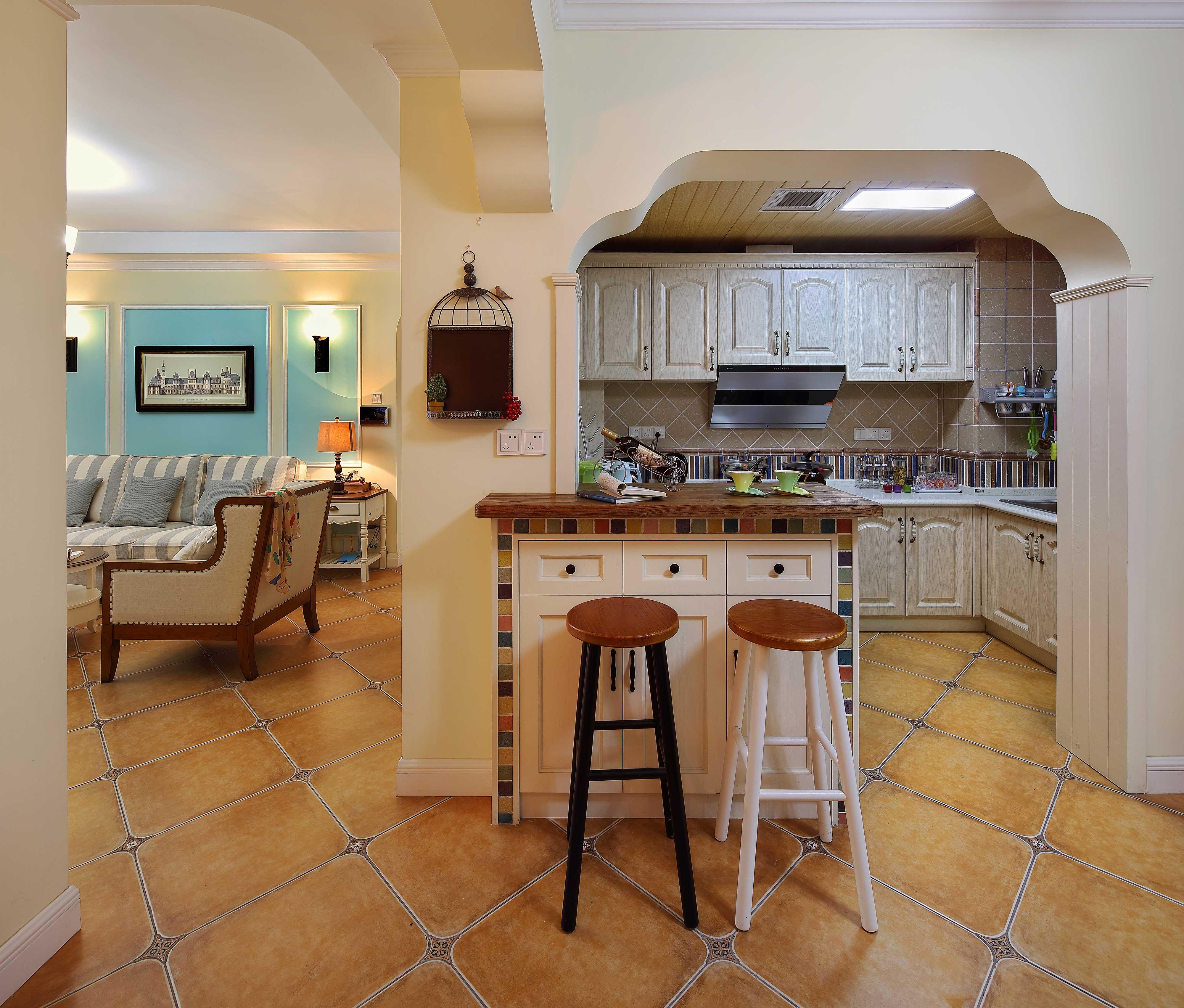 130平美式乡村风格厨房装修效果图