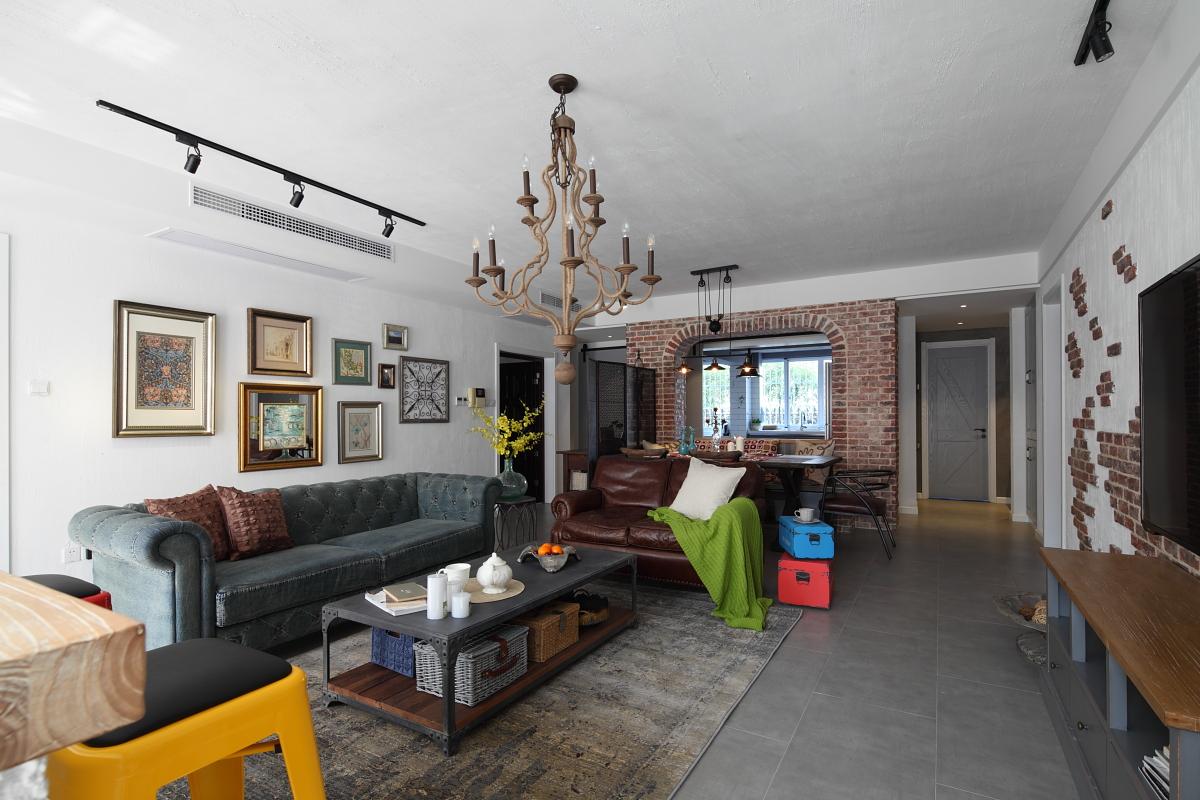 复古美式三居客厅装修效果图