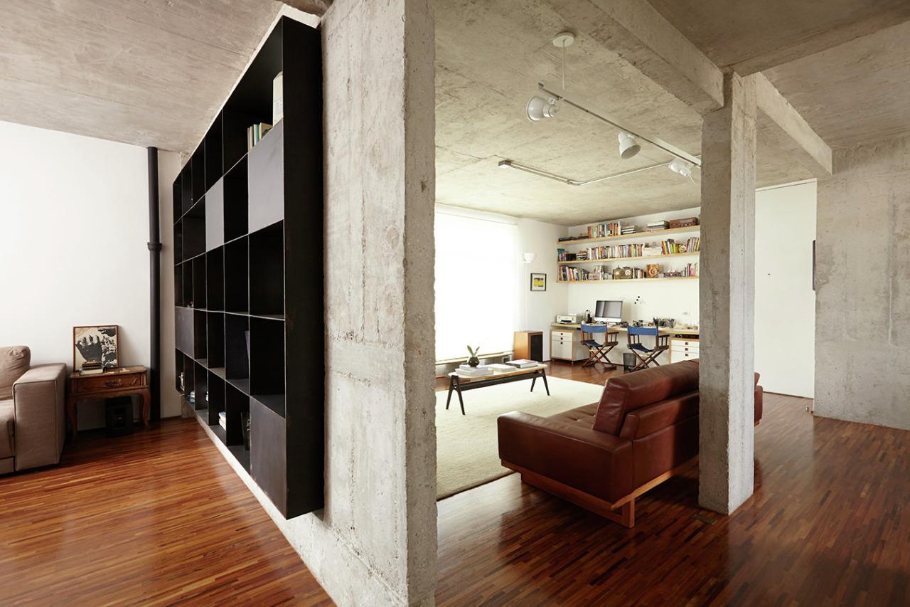 工业风格一居室装修隔断墙效果图